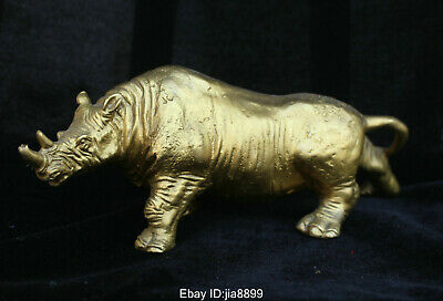 China Chinese Folk Fengshui Brass Lucky Wild Ferocious Animal Rhinoceros Statue
