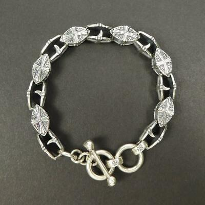 """Silver Mens Hollow Cross Charm Box Chain Link Bracelet Double Layers 7.6/"""" Gift"""