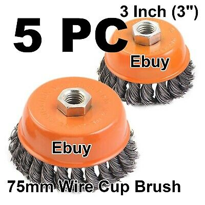 """5 pcs 3"""" Twist Cup Wire Wheel Brush 5/8"""" Arbor H-D Fits Most Angle grinders"""