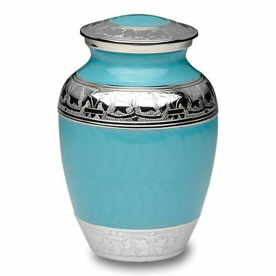 Small/Keepsake 70 Cubic Inch  Turquoise Brass Funeral Cremation Urn for Ashes