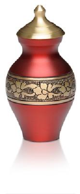 Small/Keepsake 3 Cubic Inch Cherry Red Brass Funeral Cremation Urn for Ashes