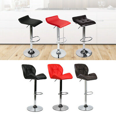 4 x Kitchen Bar Stools PU Leather Adjustable Height Swivel Dining Counter Chairs