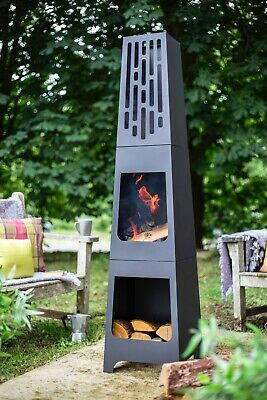56336 Oxford Barbecues Contemporary Steel Holton Chiminea Patio Heater 150cmHigh