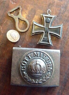 WW1 Souvenirs Iron Cross Medal And German Army Belt Buckle