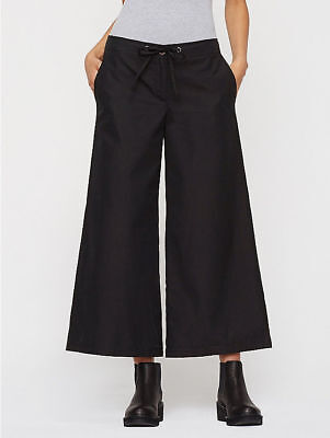 $178 BNWT EILEEN FISHER Compact Organic Cotton BLACK Wide Leg Crop Pants M