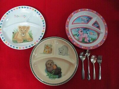 Lot of 3 Divided Plates for Children + Spoons & Fork      #1014/o3