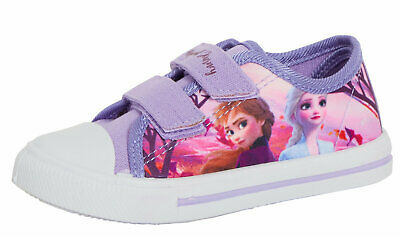Girls Disney Frozen 2 Canvas Pumps Kids Elsa Anna Touch Fasten Sports Trainers