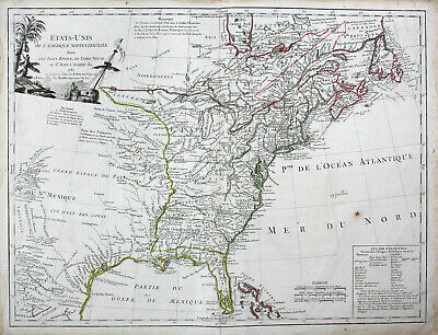 1785 United States map USA America Florida California Robert Vaugondy Atlas