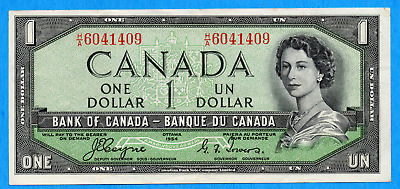 $1 1954 Bank of Canada Note Devil Face H/A Prefix BC-29a - Very Fine+