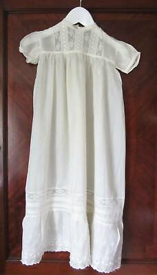 Antique ivory silk christening gown petticoat embroidery long large doll