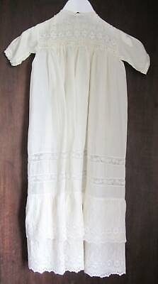 Antique ivory silk christening gown petticoat embroidery large