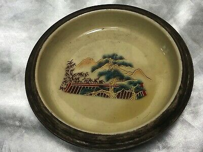 Small Fine Qianlong Style Oriental Hand Painted Mountains & Butterflies Bowl