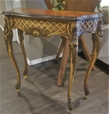 Antique French Serpentine Heavily Carved Mahogany Console Table Original Paint
