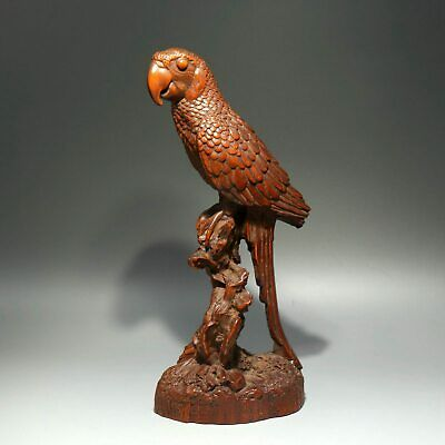 Collect China Old Boxwood Hand-Carved Ferocity Eagle Delicate Decorate Statue