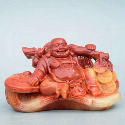 Collect Old Shoushan Stone Hand-Carved Happy Buddha & Wealth Decorate Statue