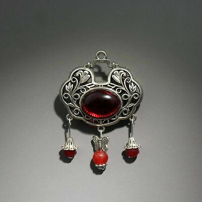 Collect China Old Miao Silver Inlay Red Amber Hollow Out Carve Delicate Pendant