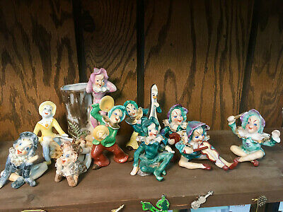 1940s Anthropomorphic Pixie Band, SET of 10, Various Poses, 4 Occupied Japan