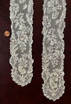 Unusual 18th C. lappets Brussels needle lace w droschel ground COLLECTOR