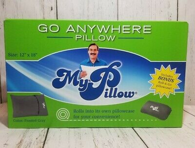 """My Pillow Go Anywhere Pillow Frosted Grey Size: 12"""" × 18"""" Bonus Roll & Go Case"""