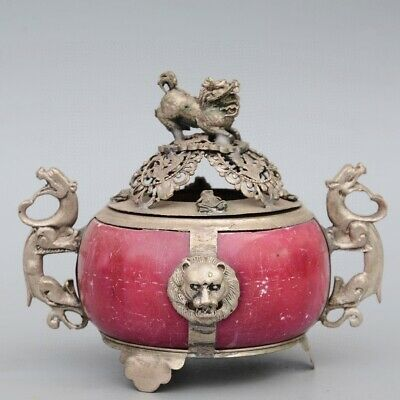 Collectable Old Miao Silver Armour Agate Hand-Carve Myth Kylin Auspicious Censer