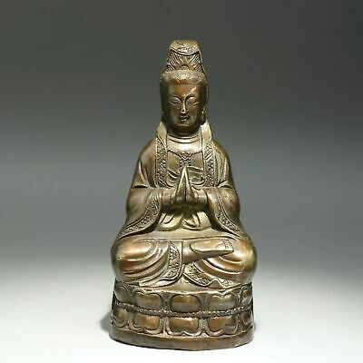 Collectable China Old Bronze Hand-Carved Kwan-Yin Bodhisattva Bring Luck Statue