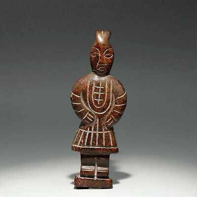 Collect China Old Jade Hand-Carved Ancient Terra-Cotta Warriors Precious Statue