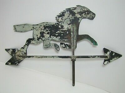Old Folk Art Running Horse Weathervane Copper Arrow Old Grungy Weathered Paint