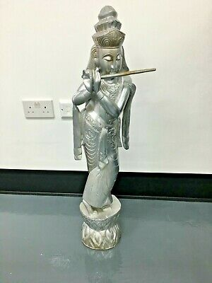 """Krishna 35"""" Approx (3ft) Hand Carved Wood Hindu Diety Statue Figure Wooden"""