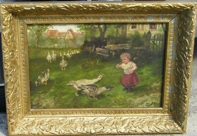 Child with Geese By Le Daum
