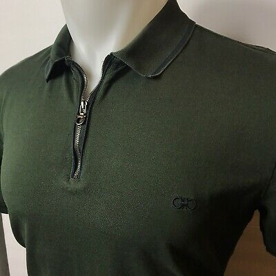 Salvatore Ferragamo Mens Large L Green Made In Italy Polo Shirt $390 FREE SHIP