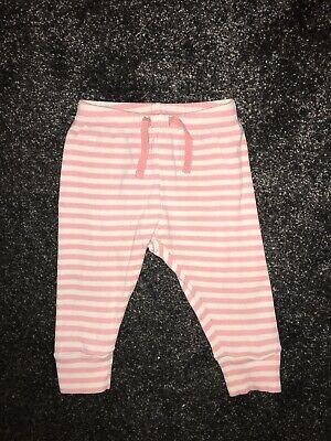 Baby Gap Girls Pink & White Striped Cuffed Joggers/trousers 6-12 Months