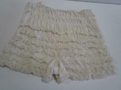 Vintage Pettipants Bloomers Lace Squaredance Rockabilly Pin Up Panties White Med
