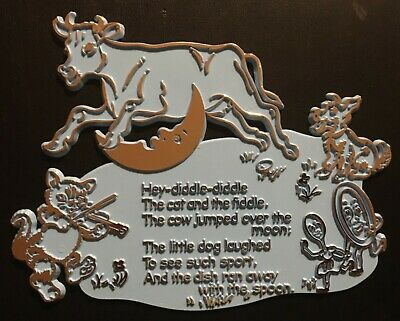 1969 Hey Diddle Diddle Nursery Rhyme Wall Plaque for Nursery Decor'