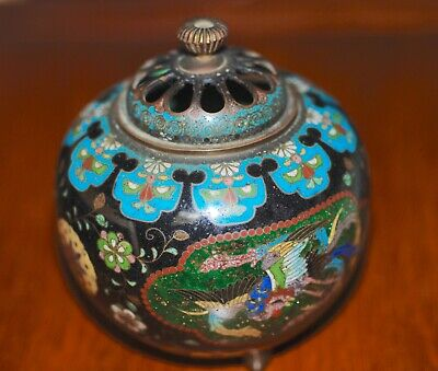 ANTIQUE JAPANESE GOLDSTONE CLOISONNE ENAMEL KORO CENSER BURNER,  MEIJI 19Th c.