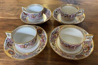 Sevres Style / Fontainebleau Louis Philippe Hunt Service / 4 Cups and Saucers