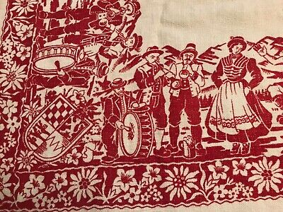 Vintage Bavarian German Table Toppers, Tablecloth with Beer Steins