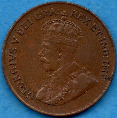 Canada 1924 1 Cent One Large Cent Coin - VF/EF