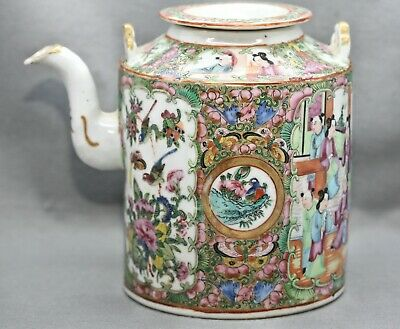Exquisite Antique Chinese Hand Painted Famille Rose 广彩 Porcelain Teapot c1880s
