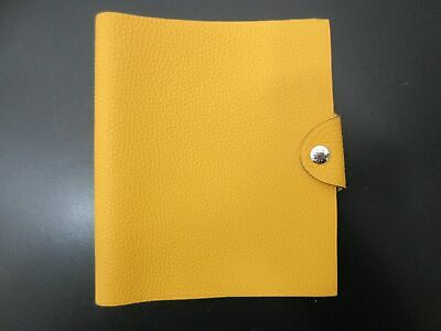 Authentic HERMES Yuris MM Day Planner Leather Yellow Great 83247