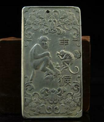 China old hand-made copper-plating silver Chinese Zodiac  Monkey waist tag
