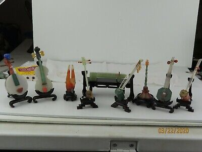 Vintage carved stones Jade Agate Miniature Chinese Musical Instruments SET OF 9