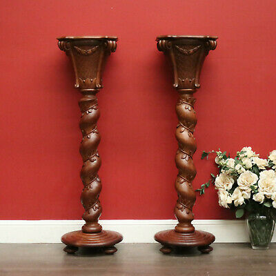 Pair of Antique French Spiral Pedestals Plant Stands Jardiniere Statue Holders
