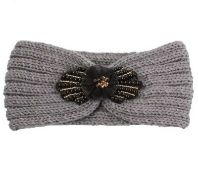 Grey Knitted Headband Black Gold Beaded Flower Ear Muff Warmers Half a Hat