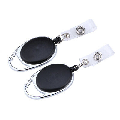 2X Black Retractable Pull Key Ring Chain Reel ID Lanyard Name Tag Card Hold NEW