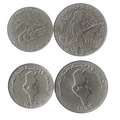Set Of 2 Coins From Tunisia. 1/2 And 1 Dinar. Tunisian Currency 1988-1990. Fao