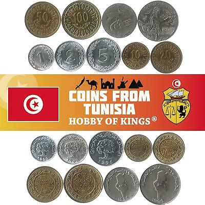 Set Of 9 Coins From Tunisia. 1, 2, 5, 10, 20, 50, 100 Millimes, 1/2 And 1 Dinar