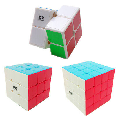 3x3 2*2 Stickerless Speed Magic Rubix Cube Rubiks Cube Kids Adults Fun Puzzle