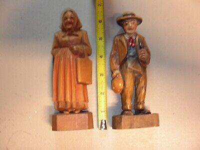Fabulous Hand Carved Painted Wooden Figure Of An Old Man and Woman