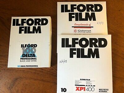 "3 New In Box Ilford Film 100 Delta Professional B & W 4""X 5"" & Xp1400 30 Sheets"