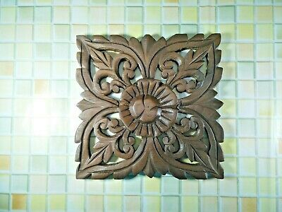 """Thai Vintage Carved Wood Wall Decor Square Panel Flower Wall Art Brown 8"""""""
